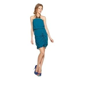 Bar III Strapless Straight Ruched Ruffled Dress